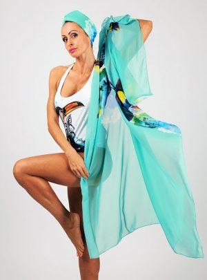 Кърпа за подсушаване на коса тюрбан Velvet green + шал
