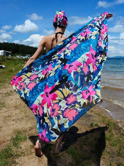 Кърпа за подсушаване на коса тюрбан Zebra + шал