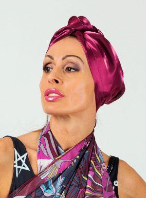 Кърпа за подсушаване на коса тюрбан Violet lace