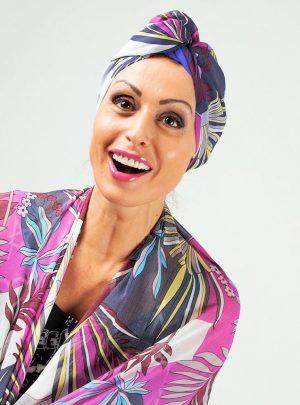 Кърпа за подсушаване на коса тюрбан Purple flora + шал