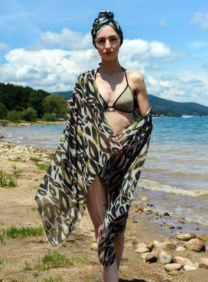 Кърпа за подсушаване на коса тюрбан Jungle + шал