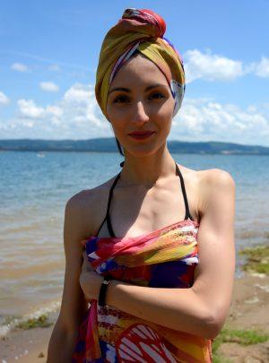 Кърпа за подсушаване на коса тюрбан Butterfly + шал