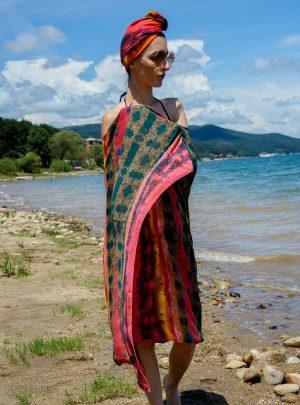 Кърпа за подсушаване на коса тюрбан Red Passion + шал