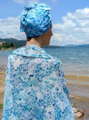 Кърпа за подсушаване на коса тюрбан Sea + шал