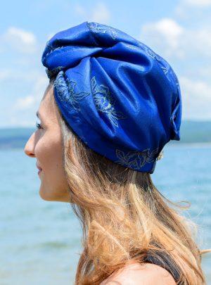 Аксесоар за глава тюрбан за коса Blue roses