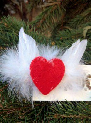 Брошка филцов материал гъши пера Ангелски крила
