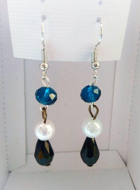 Earrings-White-Blue-Black