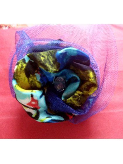 Брошка уникат тип роза Rose blue съчетание на коприна с тюл