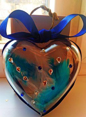 Лимитирана серия Коледно Сърце Blue and White Angel Wings Декорация за Елха