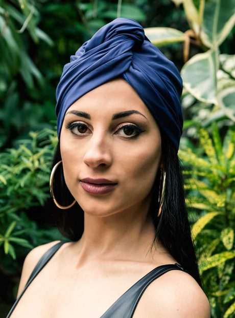 Turban-Wrap-Style-Dry-Metallic-Blue-HeadKnot