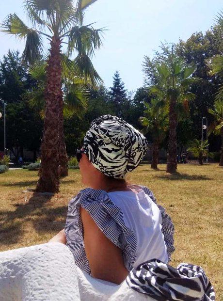 aksesoar-turban-hair-towel-black-white-wild-life