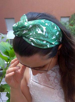 Лента за Коса с Възел зелено-бяла